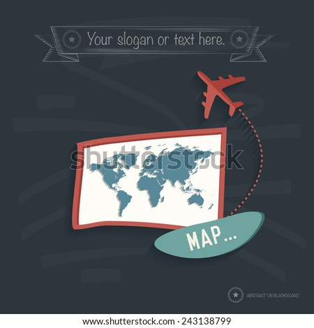 Map travel design on blackboard background,clean vector - stock vector