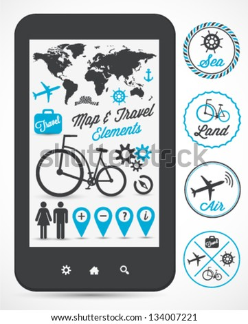 Map & Travel Vector Elements and Labels - stock vector