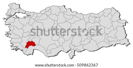 Map Turkey Burdur Stock Vector 509862367 Shutterstock