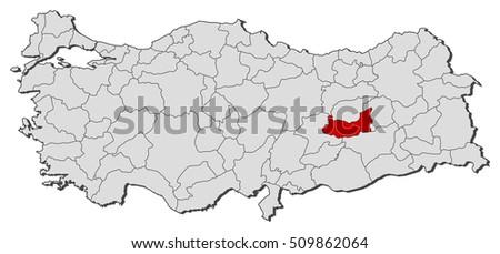 Map Turkey Elazig Stock Vector 509862064 Shutterstock