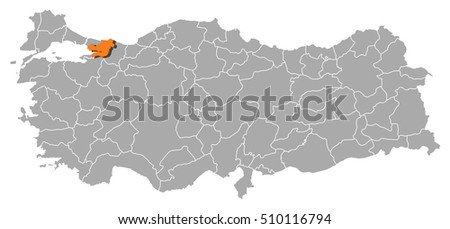 Map Turkey Kocaeli Stock Vector 510116794 Shutterstock