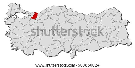 Map Turkey Sakarya Stock Vector 509860024 Shutterstock