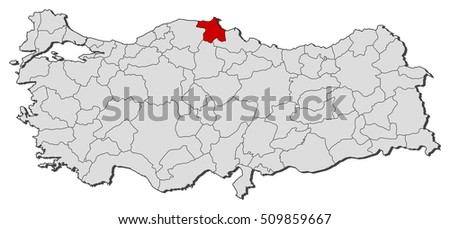 Map Turkey Sinop Stock Vector 509859667 Shutterstock