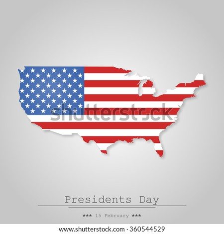 Map United State on the day of president a gray background - stock vector