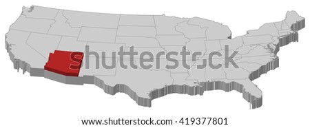 Map - United States, Arizona - 3D-Illustration - stock vector