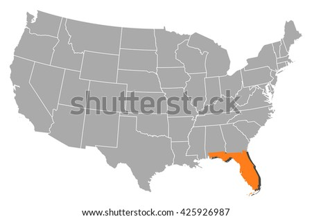 Map United States Florida Stock Vector Shutterstock - Us map florida