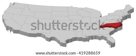 Map - United States, North Carolina - 3D-Illustration - stock vector