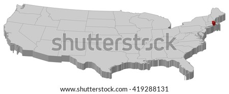 Map United States Rhode Island 3d Ilration