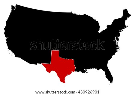Map - United States, Texas - stock vector