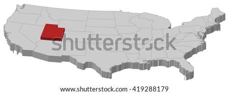 Map - United States, Utah - 3D-Illustration - stock vector