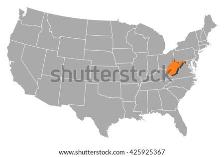Map United States West Virginia Stock Vector 425925367 Shutterstock