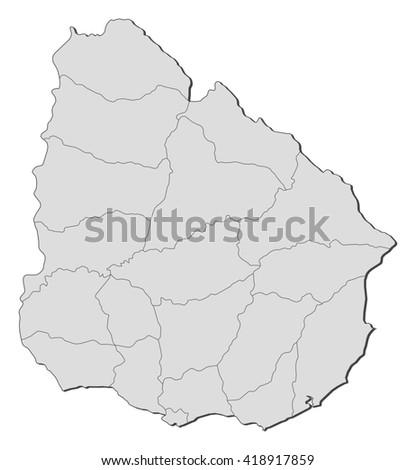Map - Uruguay - stock vector
