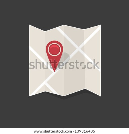Map, vector icon - stock vector