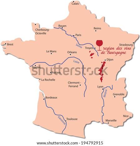 map wine region of bourgogne - stock vector