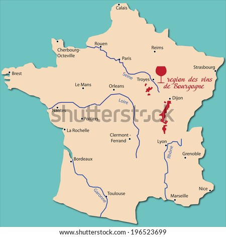 map wine region of bourgogne - stock vector