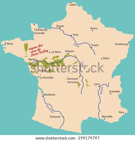 Map Wine Region Loire Valley France Stock Vector 2018 199179797