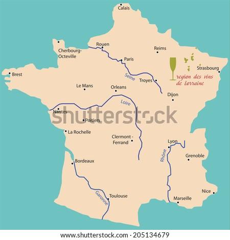 map wine region of Lorraine in France - stock vector