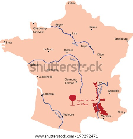 map wine region of rhone in France - stock vector