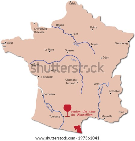 map wine region of Roussillon in France  - stock vector