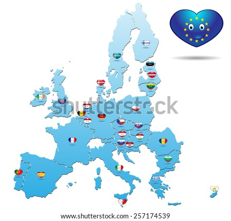 map with heart flag european union - stock vector
