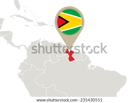 Map with highlighted Guyana map and flag