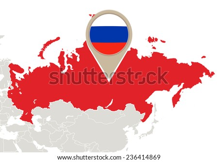 Map with highlighted Russia map and flag - stock vector