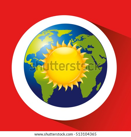 map with icon sun weather graphic vector illustration eps 10
