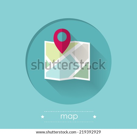 Map with Location Pin Flat Design Illustration - stock vector