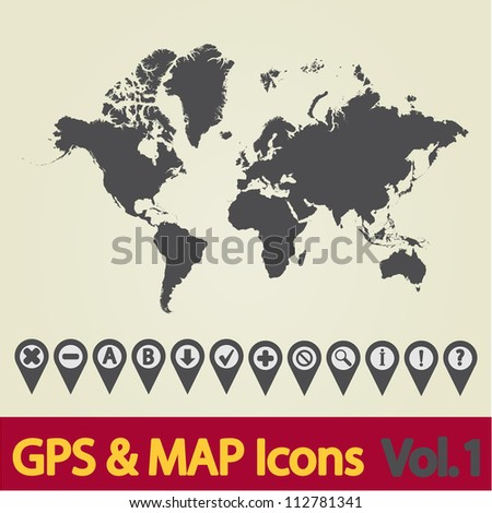 Map with Navigation Icons. Vol. 1. Vector illustration. - stock vector
