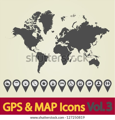 Map with Navigation Icons. Vol. 3. Vector illustration. - stock vector