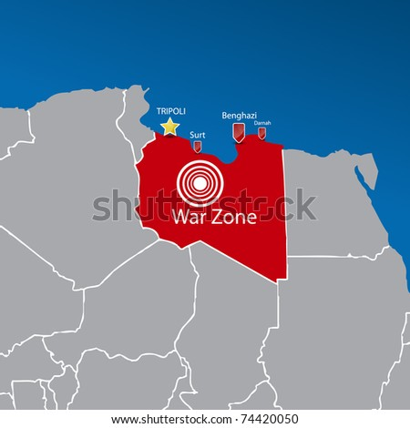 Map with part of Africa | Libya war zone. Vector illustration. - stock vector