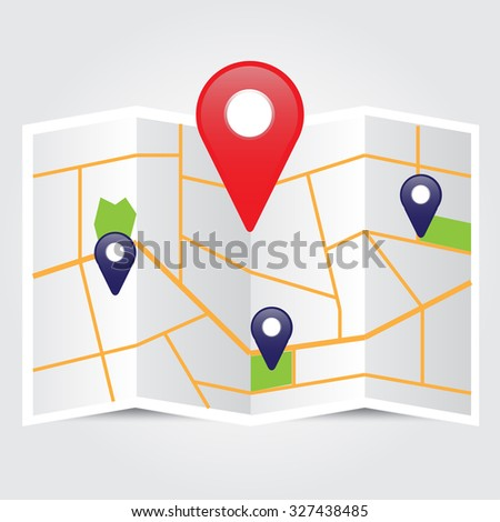 map with pin pointer icon vector illustrations