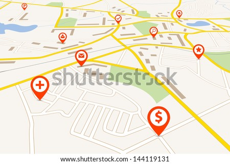 Map with red pin pointers - stock vector