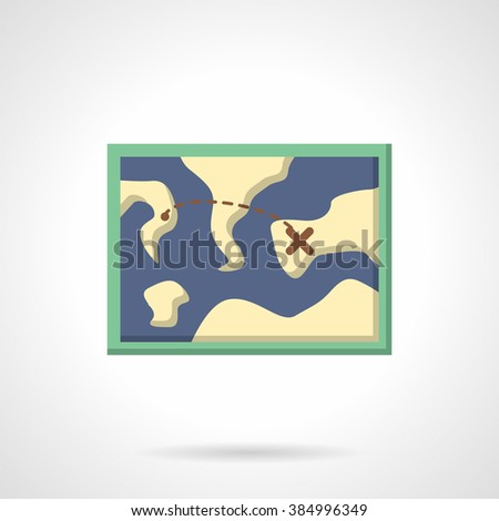 Map with tourist route. Hiking and adventure. Sport orienteering in cross country Vector icon flat color style. Web design element for site, mobile and business. - stock vector