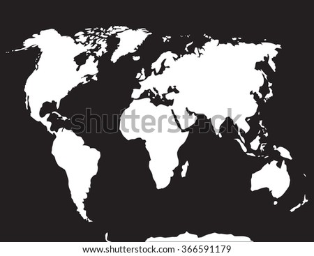 Map world black white. Atlas globe earth, continent and ocean, europe and countries. Vector art abstract unusual fashion illustration - stock vector