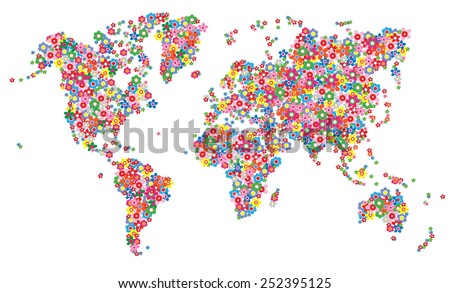 map world flowers  - stock vector