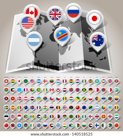 Map world with 108 flags. Vector illustration 10eps - stock vector