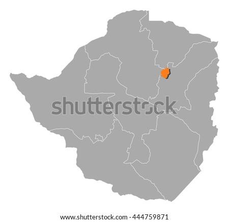 Map Zimbabwe Harare Stock Vector 444759871 Shutterstock