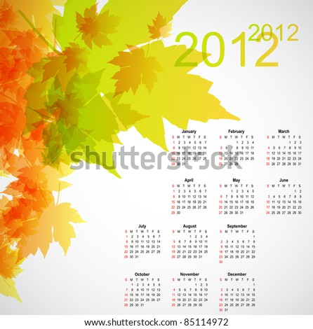 Maple autumn calendar 2012 - stock vector