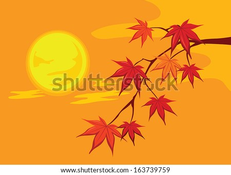 Maple autumn leaves on branches - stock vector