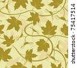 maple leaf acorn seamless background - stock vector