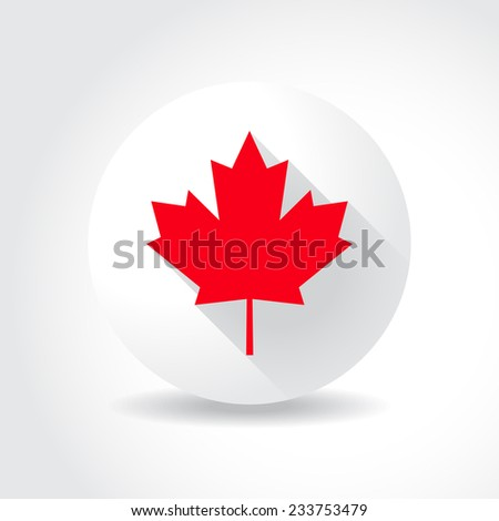 Maple leaf flag, in flat design - stock vector