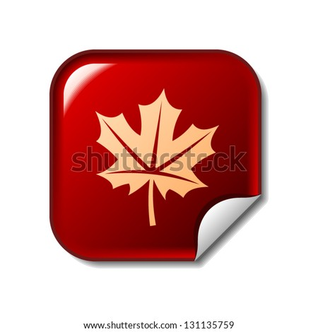 Maple leaf icon on red sticker - stock vector