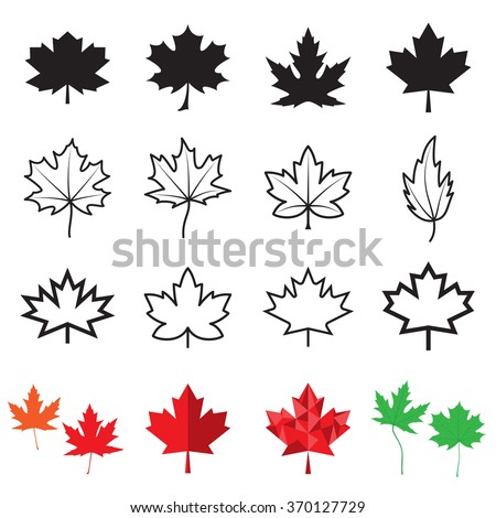 Maple leaf icons. Vector illustration - stock vector