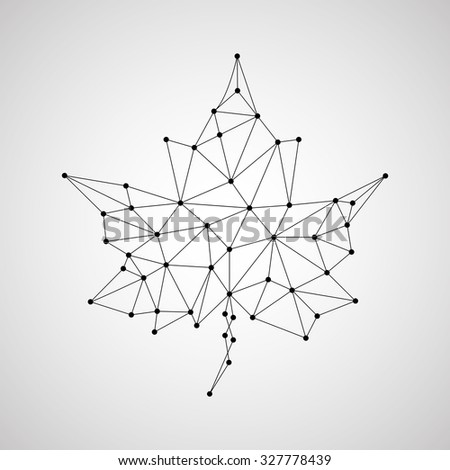 Maple leaf in abstract geometric shape. Vector illustration. Eps 10 - stock vector