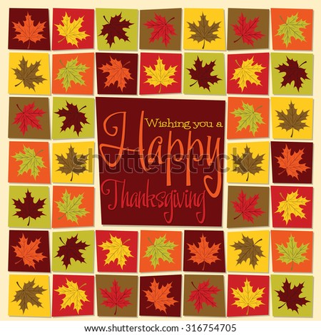 Maple leaf mosaic Thanksgiving card in vector format. - stock vector