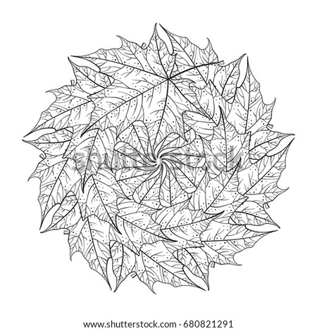 Maple Leaves Mandala Pattern Coloring Page