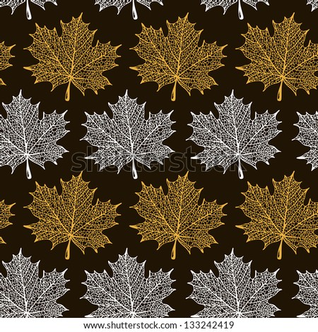 Maple leaves seamless pattern - stock vector