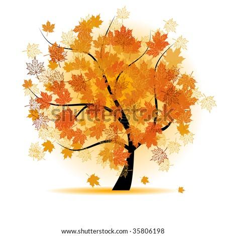 Maple tree, autumn leaf fall - stock vector