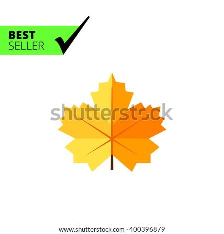Maple yellow leaf - stock vector